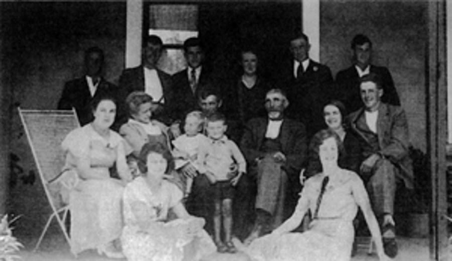 Waldron family on veranda