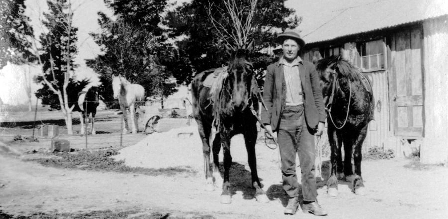 Waldron's uncle with horse in Clyde